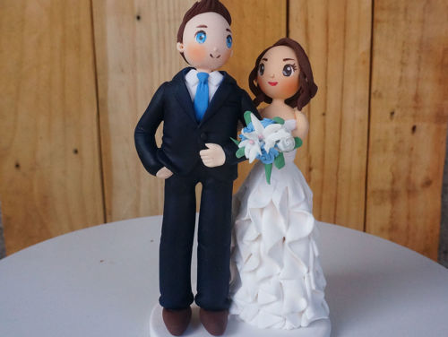 Picture of Blue Theme Wedding Cake Topper