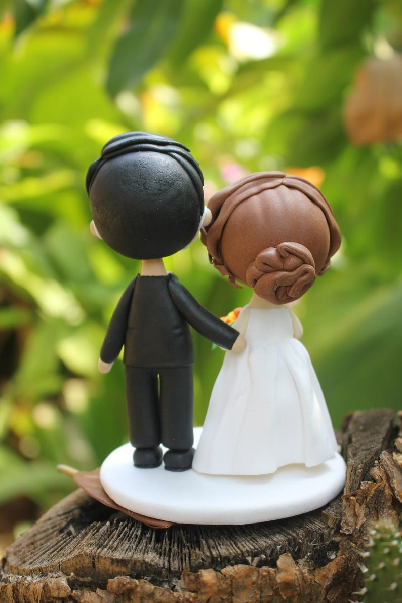 Picture of Quarantine wedding cake topper, custom wedding clay figurine
