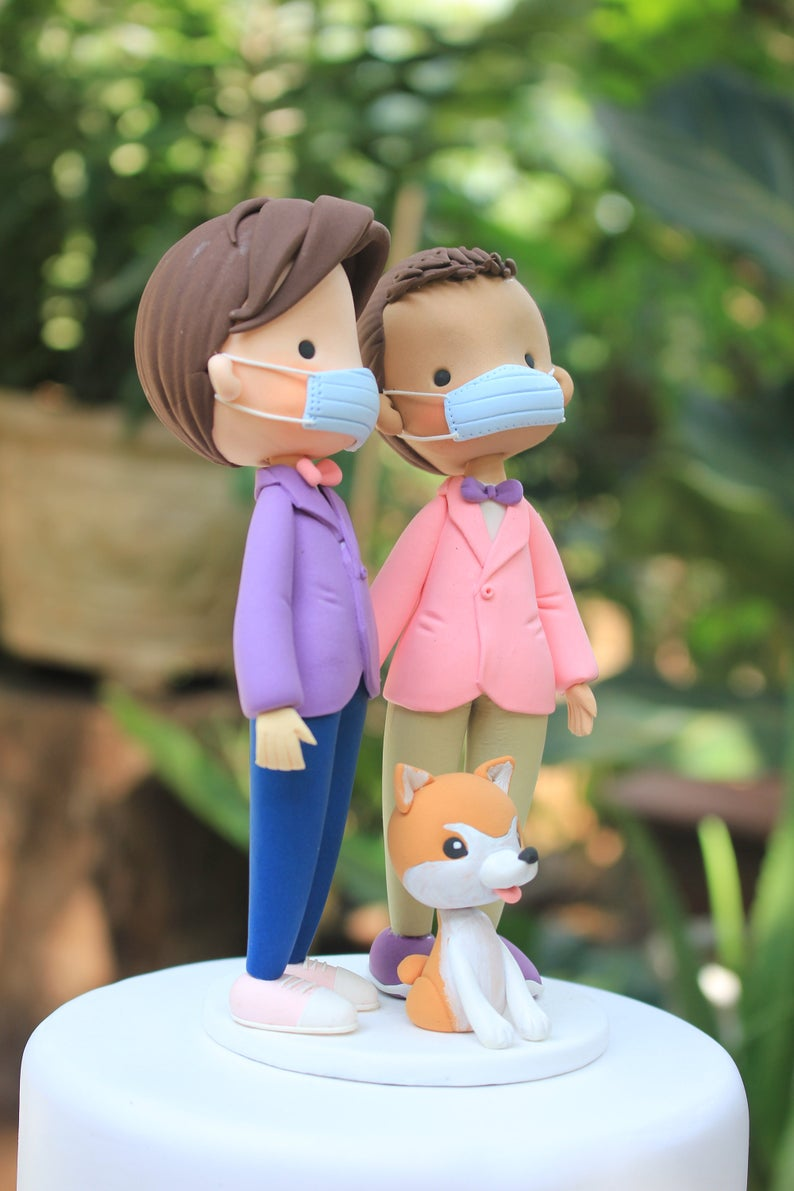 Picture of Quarantine wedding cake topper, Gay wedding cake topper with dog