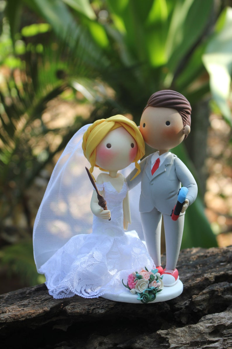 Picture of Wedding cake topper, Magical bride and Gamer groom