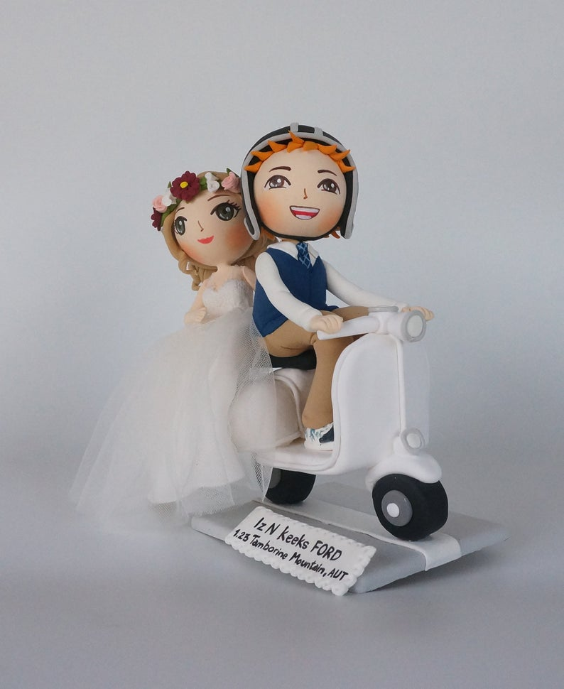 Picture of Vespa wedding cake topper, Scooter wedding topper